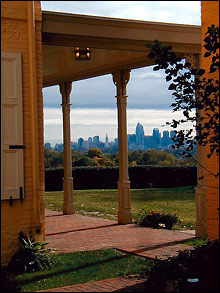View of the skyscrapers of Center City Philadelphia from the porch of Belmont Mansion.