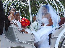 Wedding party in horse-drawn carriage.